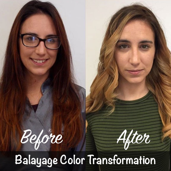 Before and After Balayage Color Tranformation