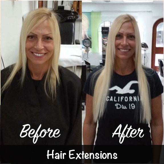 Before and After Hair Extensions Treatment
